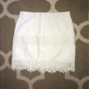 J. Crew White Flower Skirt
